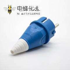 工业用插头2P+E单相2芯公头10A 220V-240V IP54蓝色欧式插头