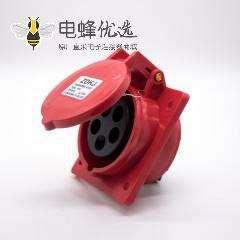暗装工业防水插座5芯斜座16A母头380V-415V IP44防水3P+N+E