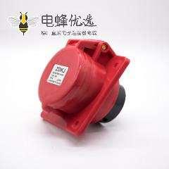 三相四线暗装倾斜插座3P+E 4芯母头32A 380V-415V IP44防水