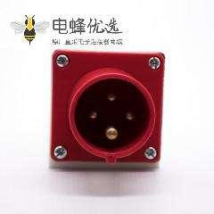明装器具输入插座4芯IP44防水公头3P+E 16A 380V-415V