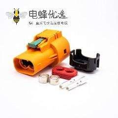 新能源汽车高压连接器2芯塑胶直式50A插头
