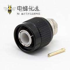 TNC射频连接器公头公针插孔直式插头带黑色外壳
