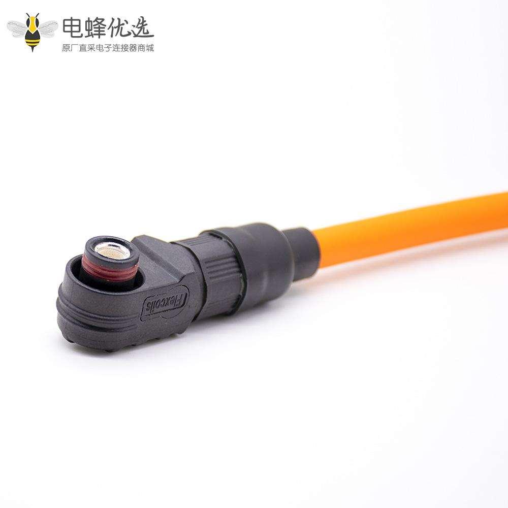 新能源储能连接器120A塑料母接头黑色插头单芯压25平方线6mm防水IP67