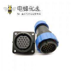 航空SP29系列19芯直插头+方法兰插座