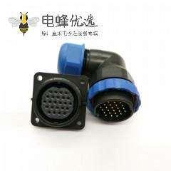 航空连接器SP29系列24芯弯插头+方法兰插座