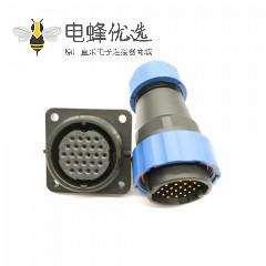 圆形航空连接器SP29系列24芯直插头+方法兰插座