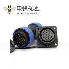 航空插针SP系列26芯直插头+方法兰插座