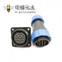 航空SP29系列12芯直插头+方法兰插座