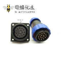 航空SP系列16芯直插头+方法兰插座SP29