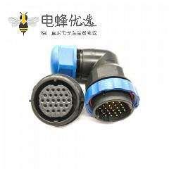 SP29航空连接器24芯弯插头+后螺母插座