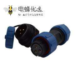 3芯航空SP17 系列母插头+公圆螺母插座一对后锁板安装