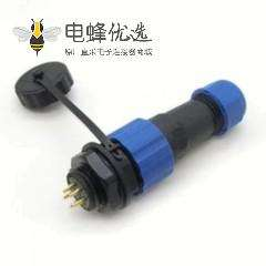 SP17 系列5芯公插头+母圆螺母插座一对后锁板安装