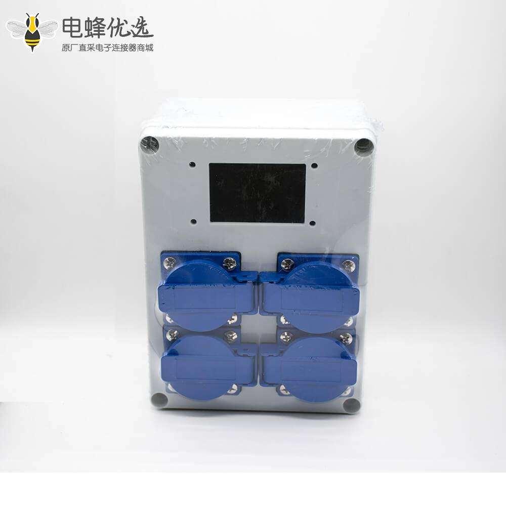 工业防水插座箱螺丝固定4位插座显示屏可定制ABS塑料外壳