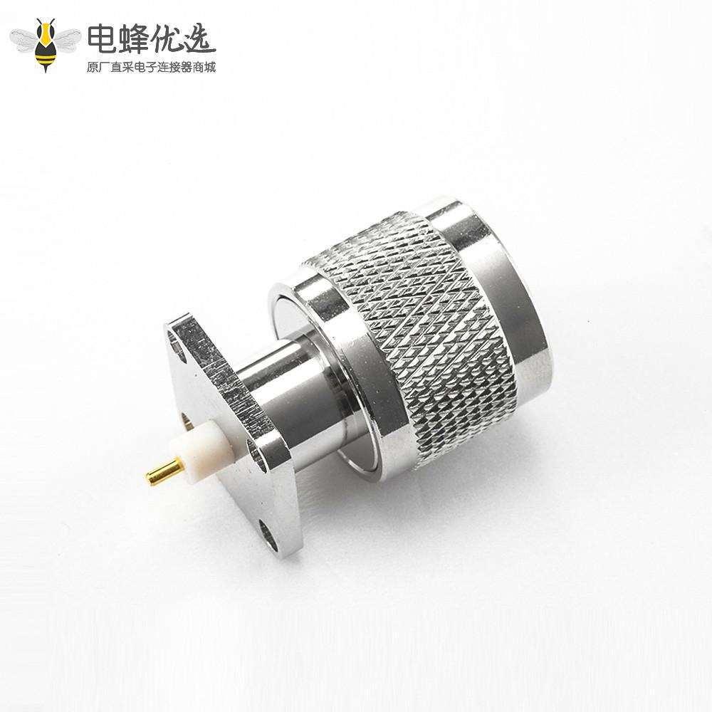 焊接N型连接器焊接板4孔法兰直型公头PCB安装