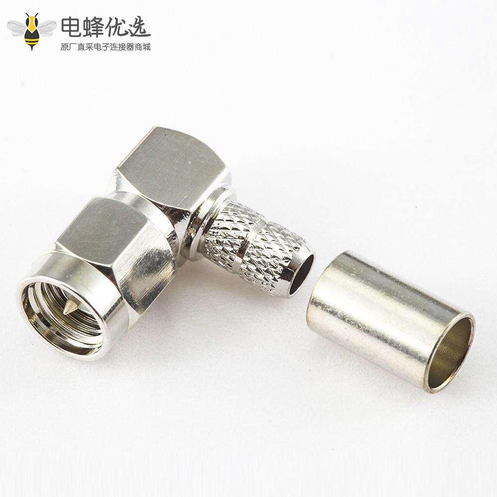 用于RG58 / RG142 / SYV50-3SMA公头弯式连接器压接类型
