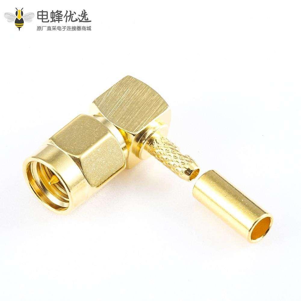 压接RG174 / RG316 / LMR100电缆SMA连接器公头弯式