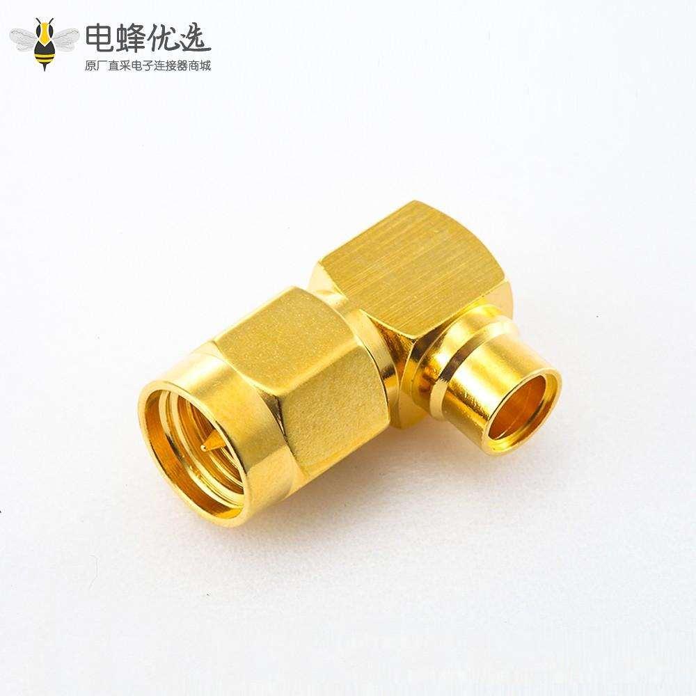 SMA接线半柔/半刚-3 公头弯式焊接连接器