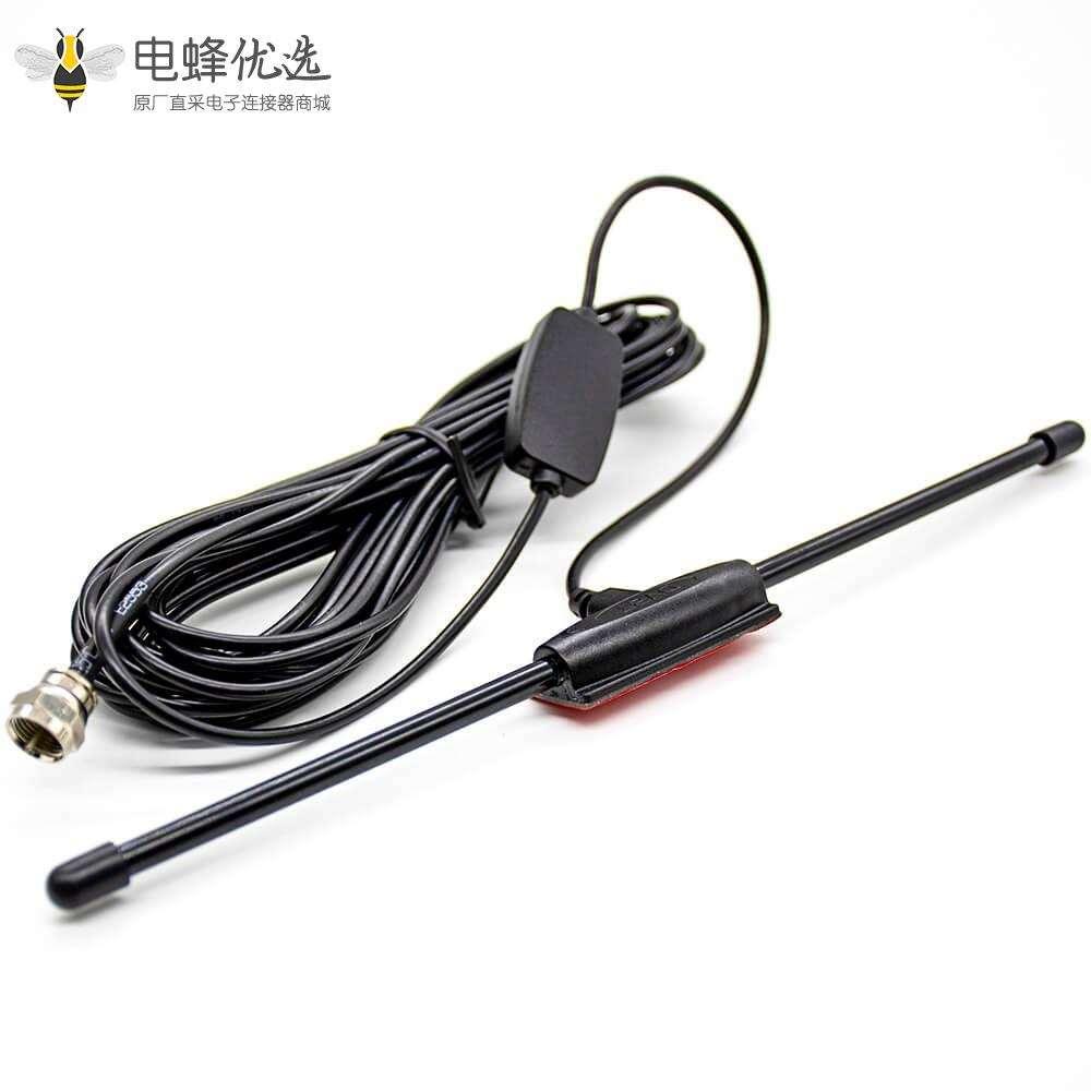 F型插头hdtv天线夹板公头增益1.5dBi接线RG174