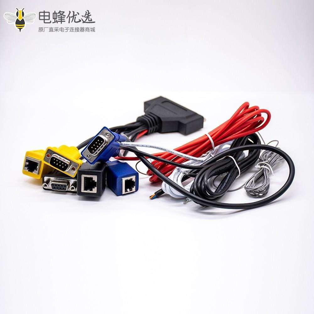 DB37针转D-sub&RJ45直式适配器电缆长3米带1米线束