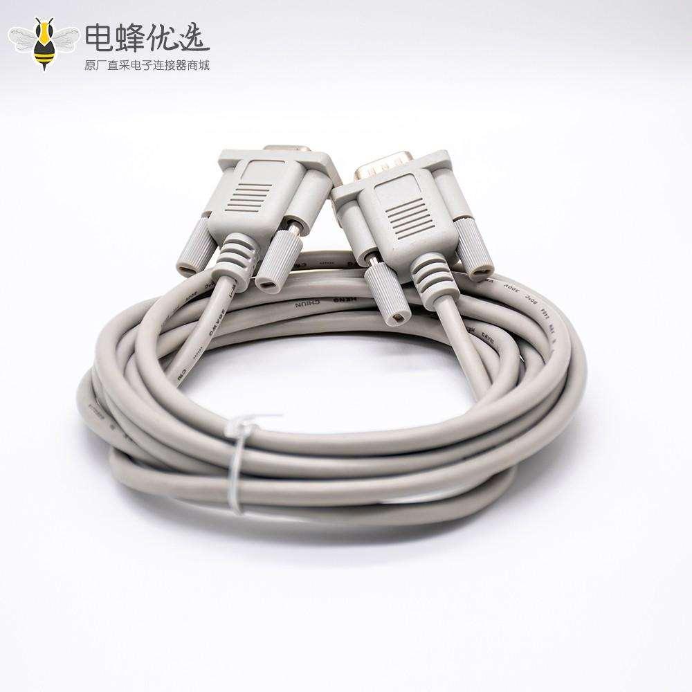 DB形连接器公转母直式9针白色注塑型2米