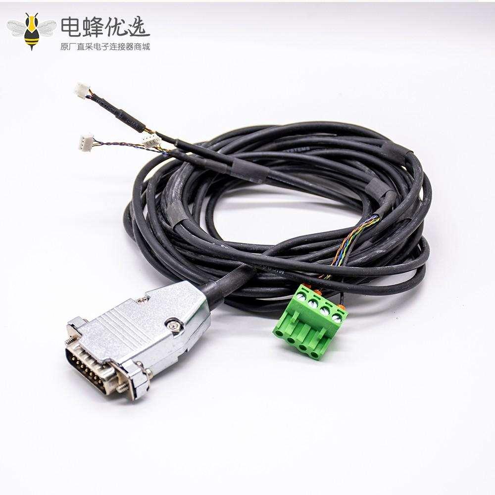 金属外壳DB15pin转1个绿色接线盒电缆组件3米