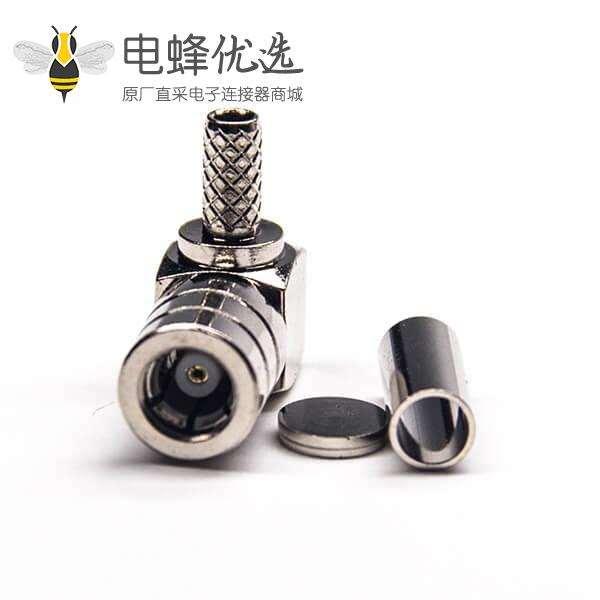 弯式连接器smb公头套管压接式接同轴线缆