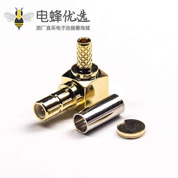 母式SMB接头弯头90度镀金带套管式压接接线
