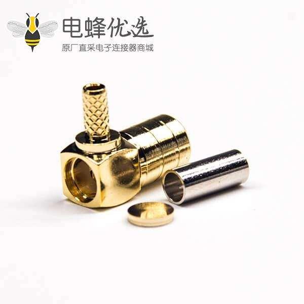 smb公头接口弯式90度镀金带套管压接接同轴线缆