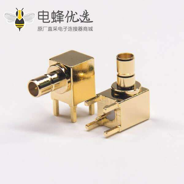 SMB母头弯式接PCB板插孔式射频连接器