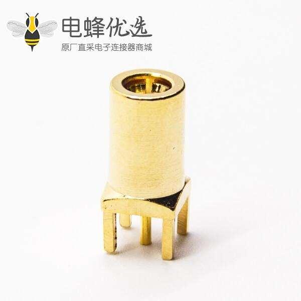 射频连接器SMB公头直式镀金插孔接PCB板