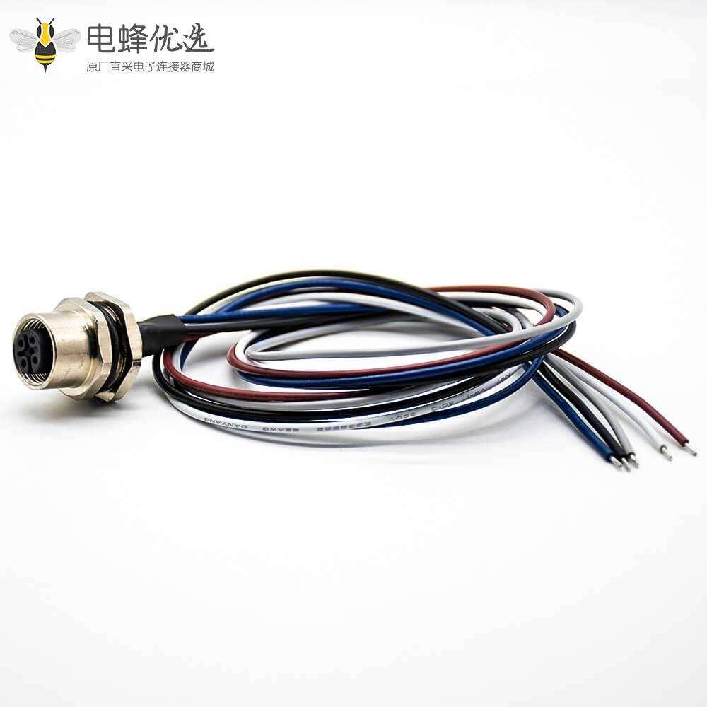 防水连接器焊线0.2M直式A扣后锁板M12母头5芯板端插座