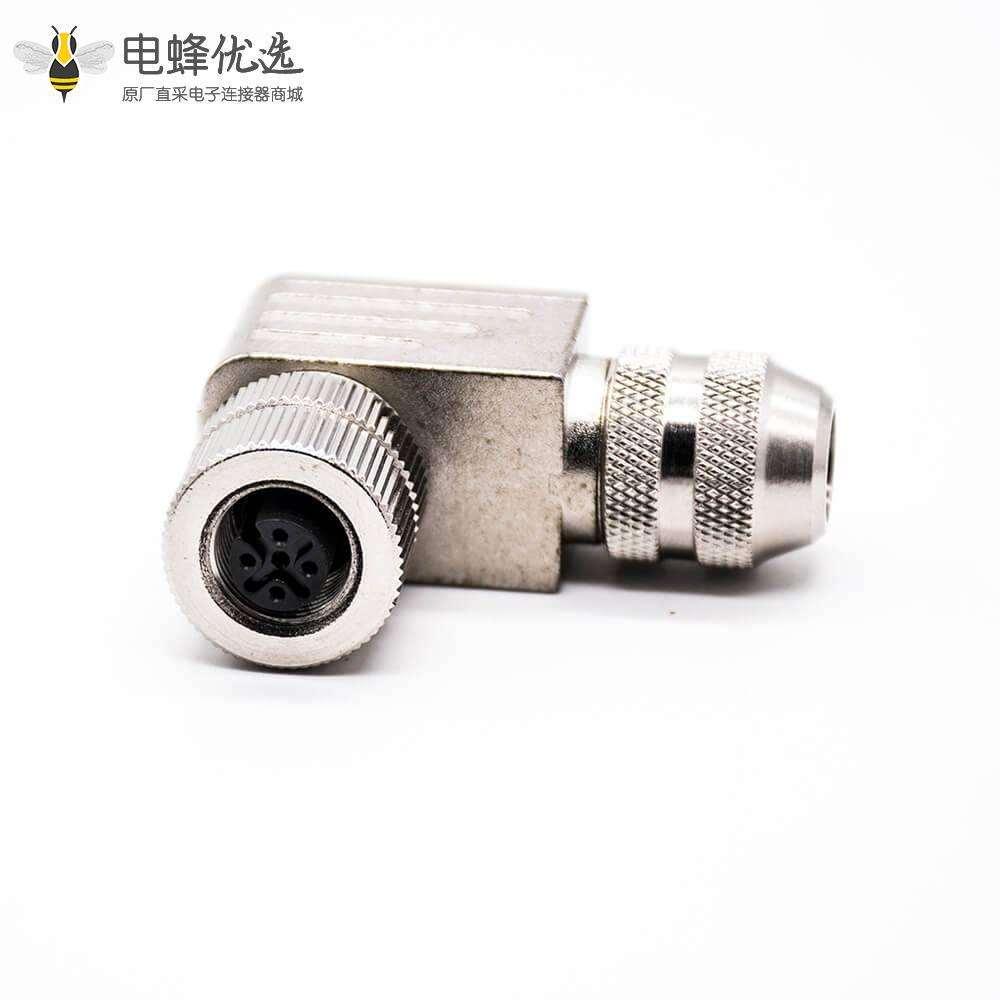 M12连接器5针弯式母头组装接头A扣螺丝锁线带屏蔽金属外壳