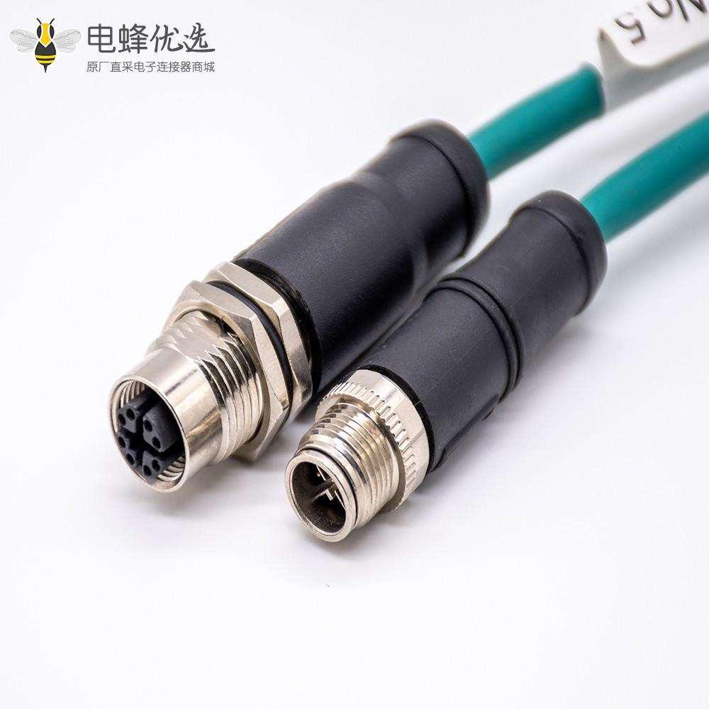 m12连接器4芯直式母头接线式焊杯不带屏蔽注塑接头