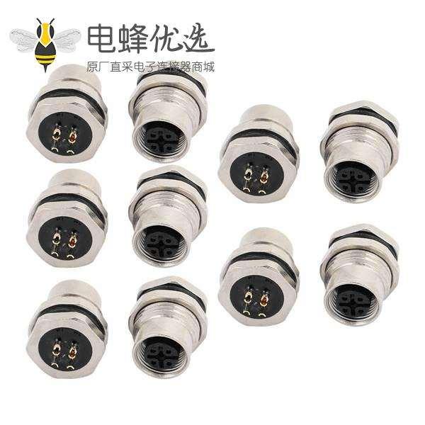 M12连接器4针板端直式防水插座A扣母头前穿墙焊线式