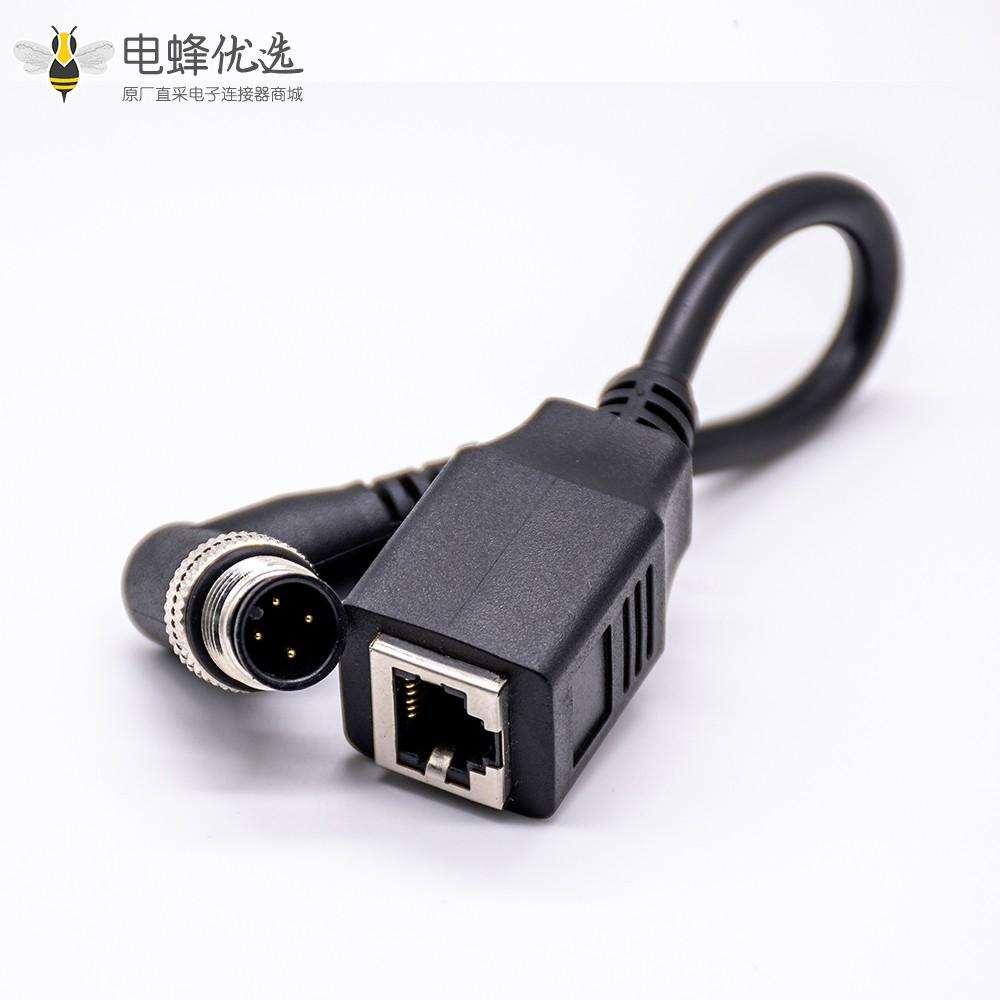 M12 4针连接器公头直式转RJ45 6pin注塑电缆1M