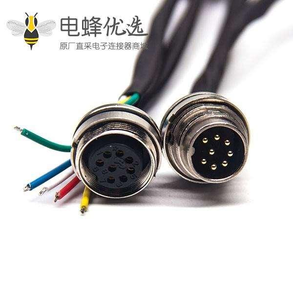 工业电缆防水接头M16直式8芯A型连接器前锁板安装线长0.3M24AWG不带屏蔽