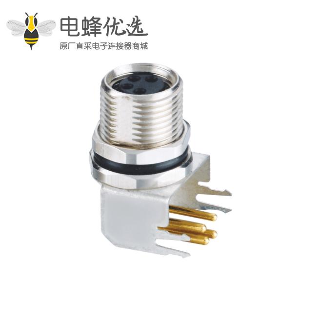 M8弯式PCB连接器板端前锁4芯直式防水母座连接器