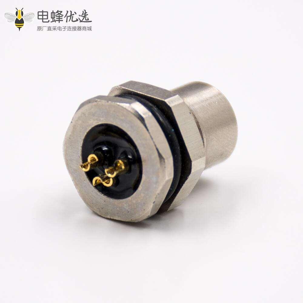 M8防水插座3芯母头直式前锁板板端插座接线焊接式连接器