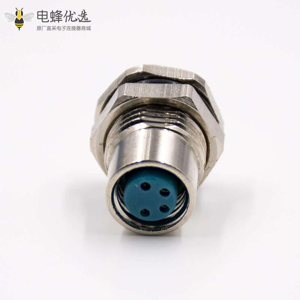 M8连接器4芯母头直式前锁板板端插座接线焊接式传感器