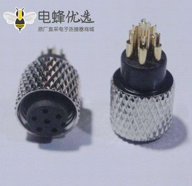M8连接器6芯母头直式A扣焊接式不带屏蔽接线注塑连接器