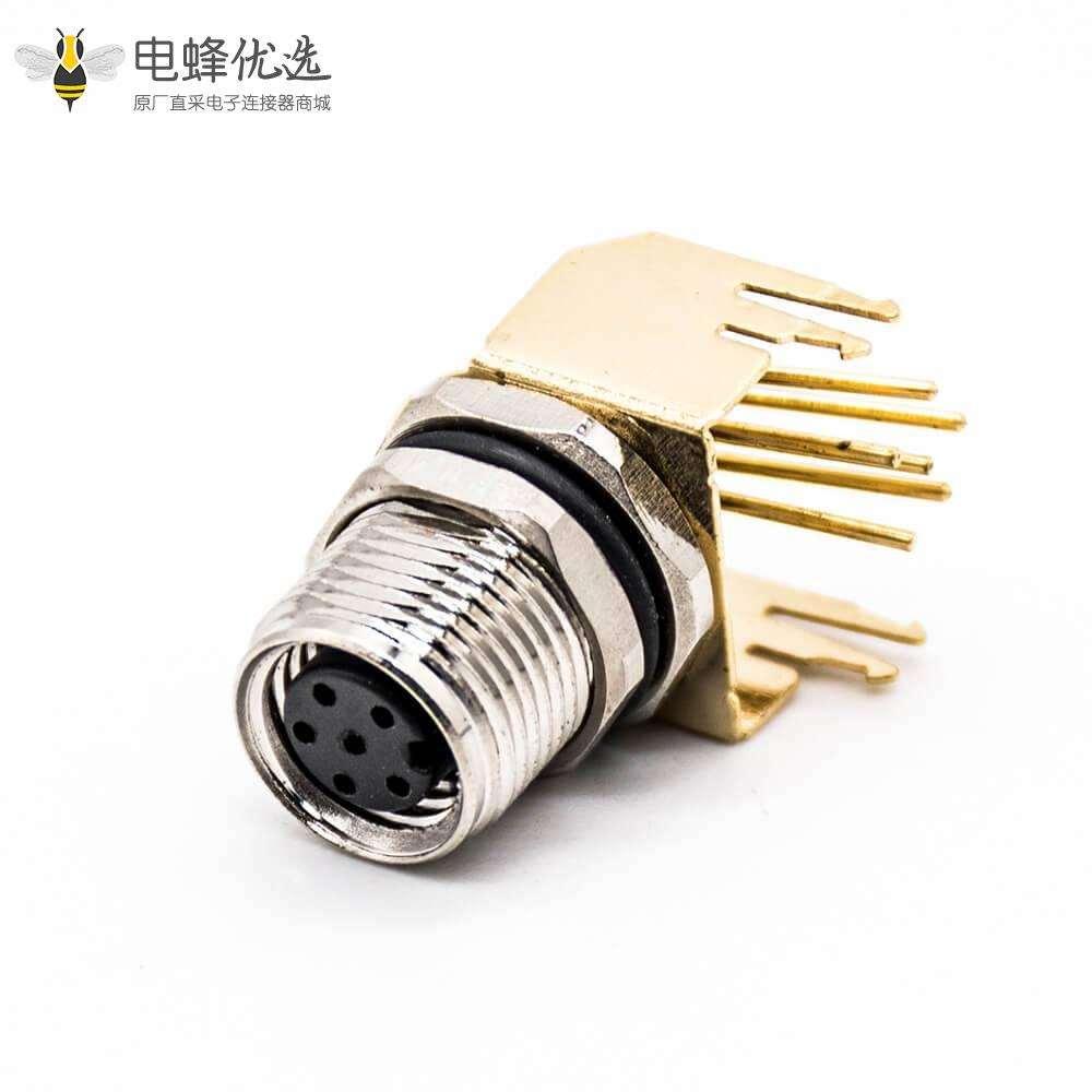 M8传感器连接器6芯插座A扣弯式母头PCB板安装前锁板带镀金支架