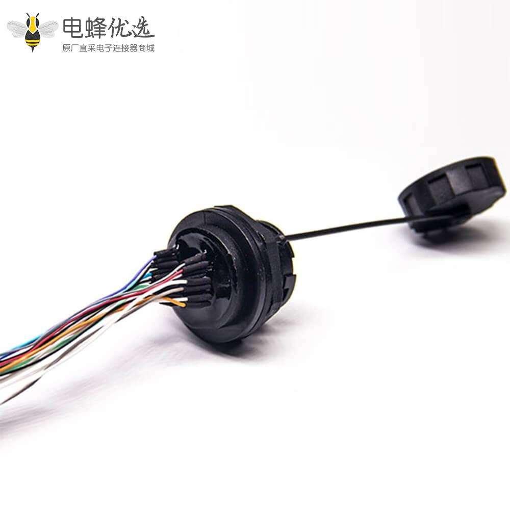 防水插座HDMI Type A M25螺纹19芯直式母防水插座接线前锁板