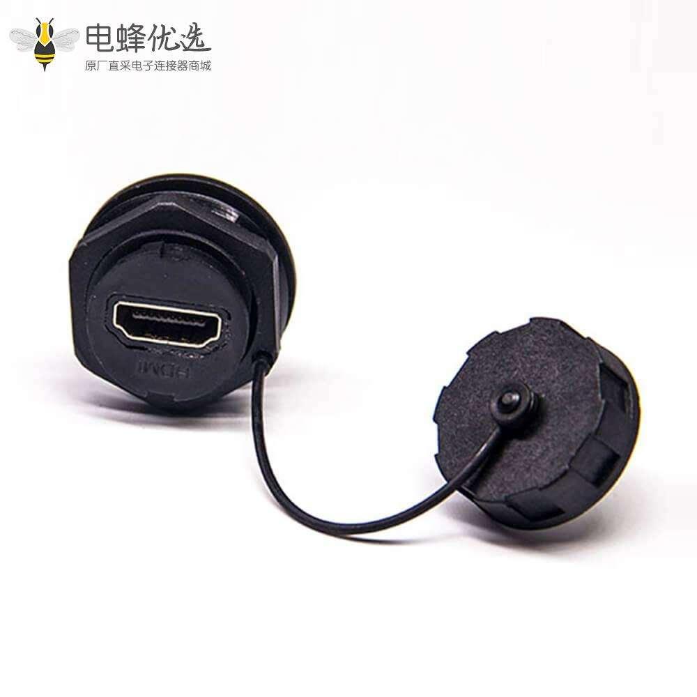 防水连接器HDMI Type A M25螺纹19芯直式母插座尾部带针