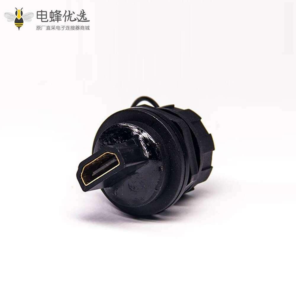 HDMI母19芯对母Type A母插座前锁板M25螺纹转母插座防水转接头