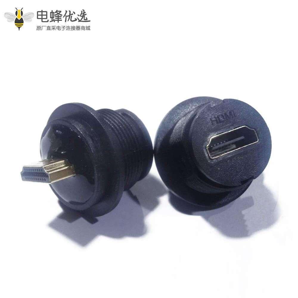HDMI母座19芯防水Type A母插座转公头M25螺纹转接头