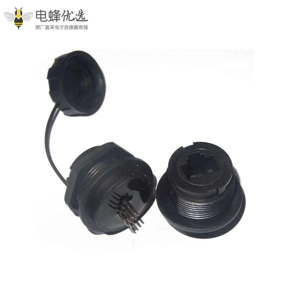RJ45连接器母插座直式防水M25尾部带针前锁插板PCB板安装