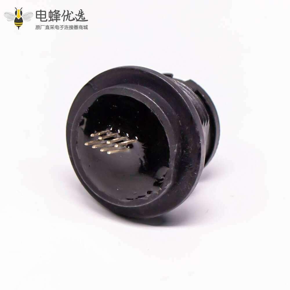RJ45插座直式插板PCB安装IP67前锁
