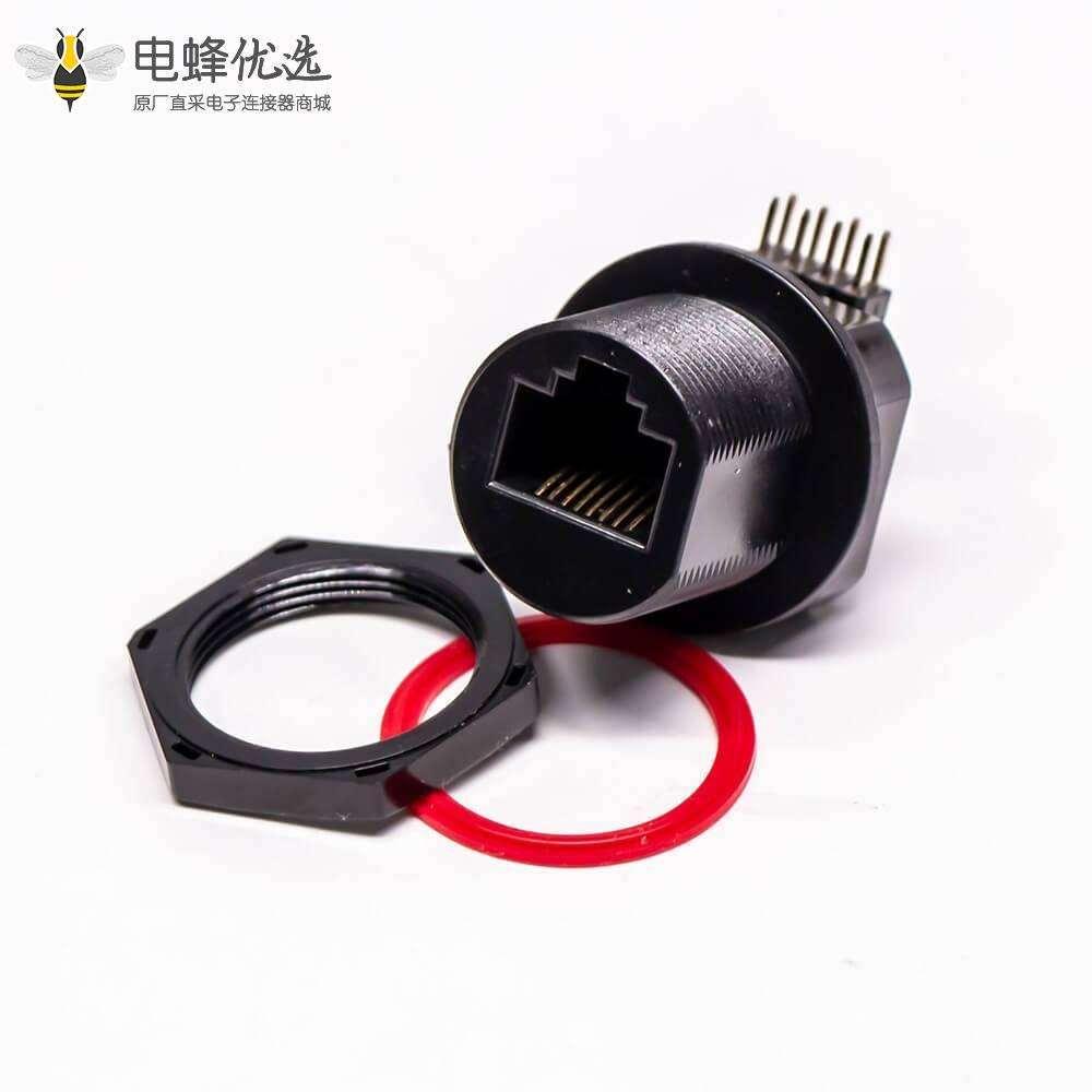 弯插座RJ45插板IP67前锁PCB安装