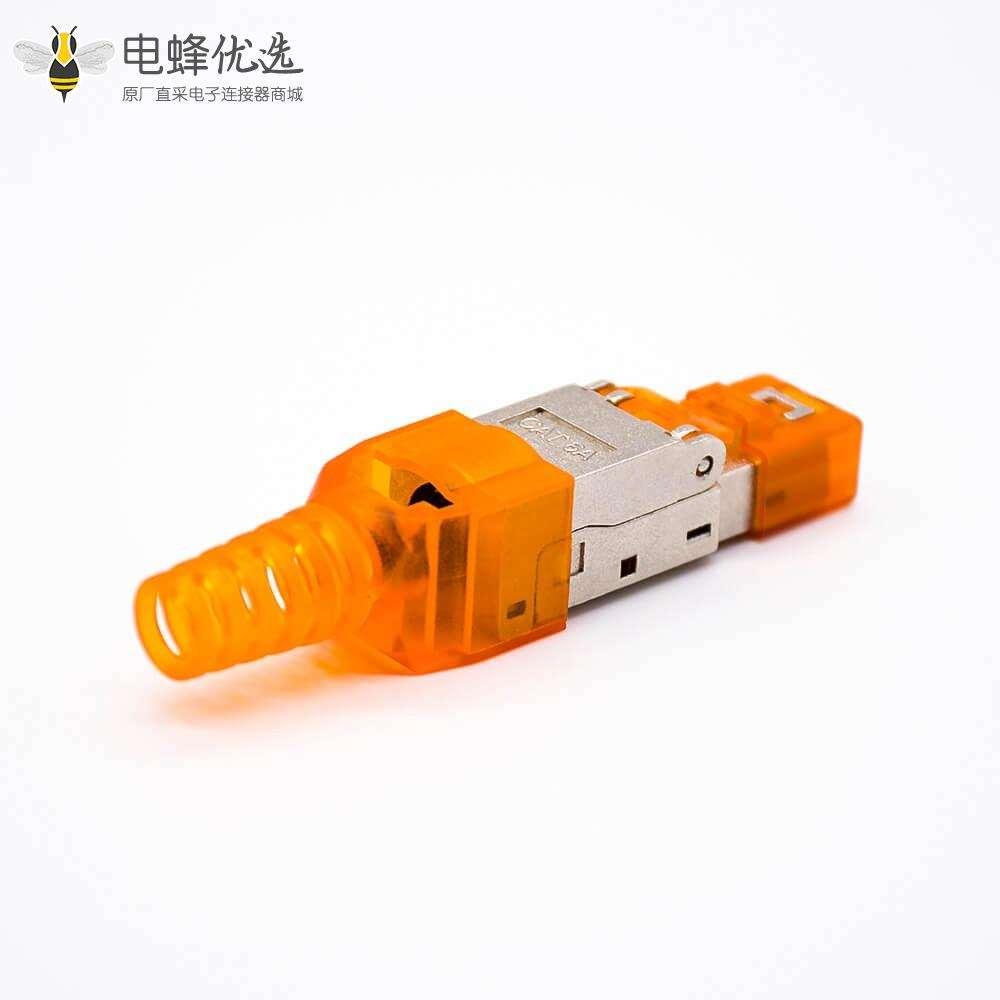 RJ45网络插头带塑料外壳插孔七类屏蔽免打水晶头