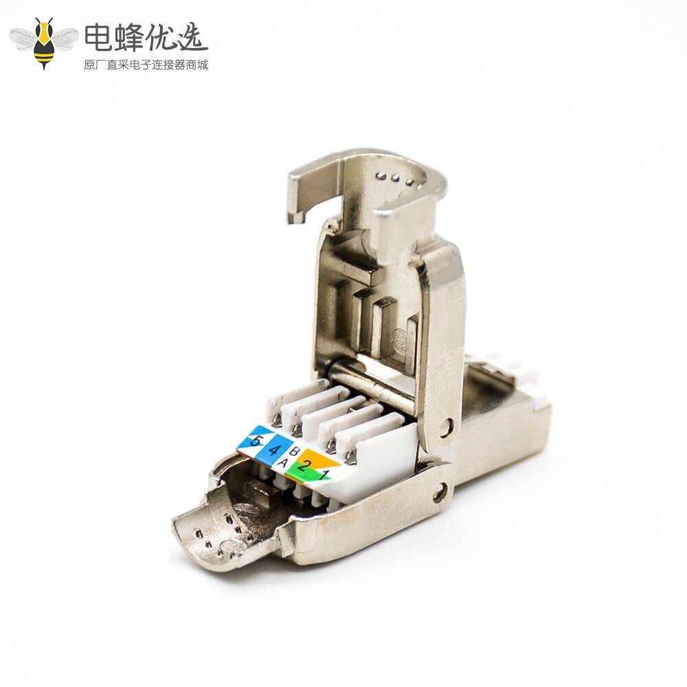 RJ45网络插头免工具插孔直式六类屏蔽水晶插头